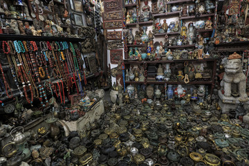 Dali, China - March 23, 2018: Chinese store filled with traditional souvenirs from all over China