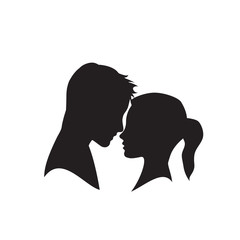 Vector logo lovers. Silhouette of man and woman