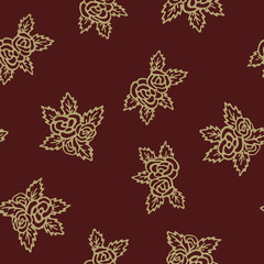Colorful seamless pattern. Hand drawn golden roses on red background
