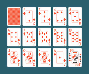 Playing cards of Diamonds suit and back on Blue background