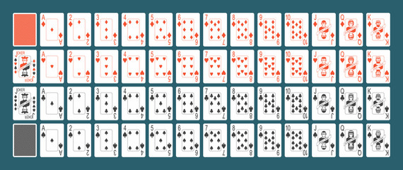 playing cards full set isolated on Blue background