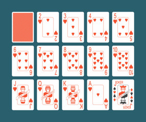 Playing cards of Hearts suit and back on Blue background
