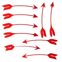 collection of hand drawn doodle arrow icon sign isolated on white background