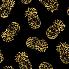 Vector Illustration. Summer golden pineapples seamless pattern. Tropical decorative fruit icons. Hand draw paint ananases on black background