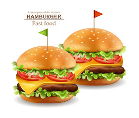 Hamburgers Vector realistic. Cheese and tomatoes. 3d Detailed illustrations