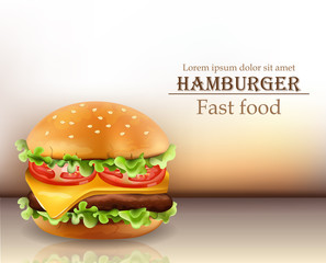 Hamburger Vector realistic. Cheese and tomatoes. 3d Detailed illustrations