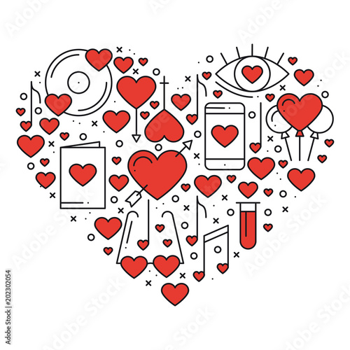 Heart With Love Symbols In Line Style Love Couple Relationship