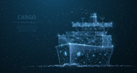 Worldwide cargo ship. Polygonal wireframe mesh art. Transportation, logistic, shipping concept illustration or background
