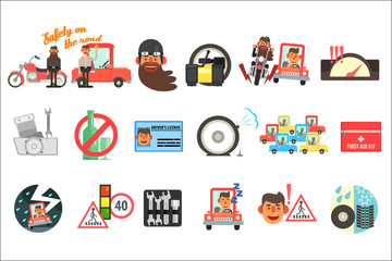 Flat vector set of cartoon items related to safety on road. Traffic codes, signs, first aid kit, driver s license, motorcycle, car