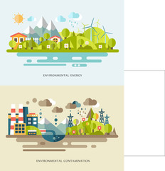Flat vector banners with countrysides showing eco energy and environmental contamination. Alternative source of power. Nature pollution