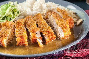 Japanese katsu curry. Deep fried breast chicken cutlet