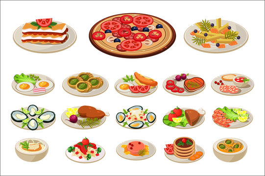 Set of various dishes on plates. Tasty food. Traditional breakfast. European lunch. Flat vector design for promo poster, cafe or restaurant menu
