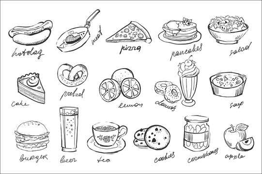 Vector set of food and drinks icons in sketch style. Sweet desserts, fastfood, fresh fruits, beverages, canned cucumbers, salad and soup