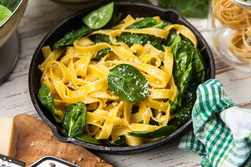 Spinach tagliatelle pasta