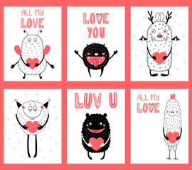 Printed kitchen splashbacks Illustrations Set of hand drawn ready to use cards, gift tags templates with cute funny cartoon monsters holding hearts, text. Vector illustration. Isolated objects. Design concept for children, Valentines day.