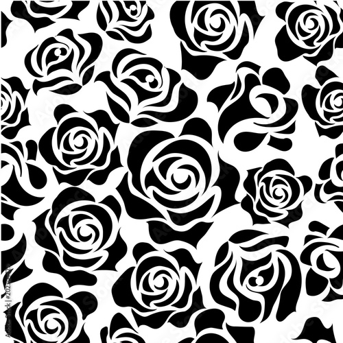 バラのイラストモノクロ薔薇の模様の連続柄シームレスデザイン