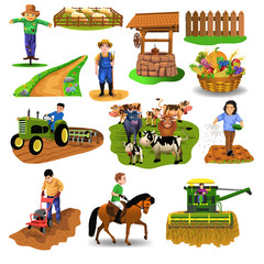 vector countryside set of clip arts like harvester, sowing seeds, riding a horse, plowing, farm animals, well, farmer, tilling the soil