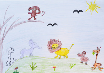 child's drawing, zoo garden