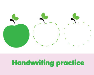 Tracing lines for toddlers. Handwriting practice sheet. Educational children game, printable worksheet for kids with apple