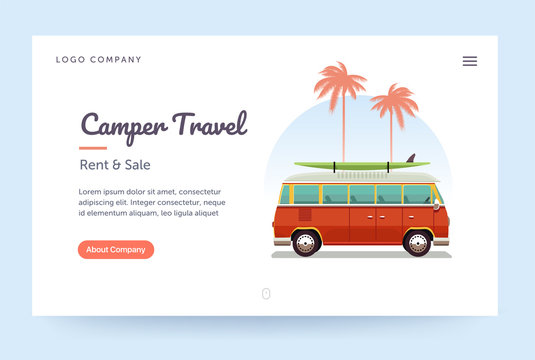 Camper travel website template. Surfing retro van illustration. Home page concept. UI design mockup.