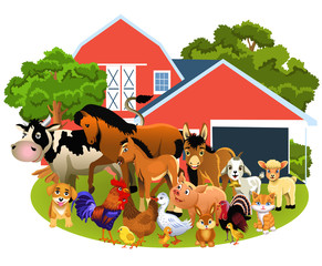 farm animals like cow, horse, goat, pig, sheep, hen, goose, rabbit and others