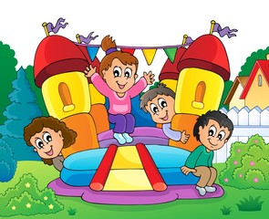 Canvas Prints For Kids Kids on inflatable castle theme 2