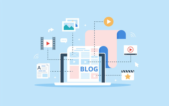 The blog page fill out with content. Articles and media materials uploading process. Blogging, Content Management and SMM concept in flat design.