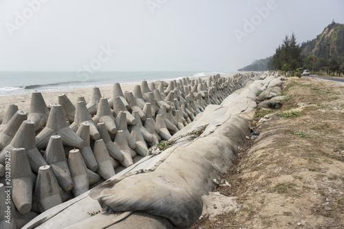 concrete blocks protecting marine drive road cox's bazar bangladesh