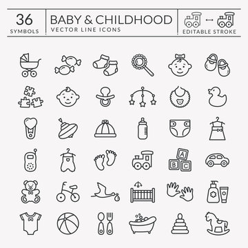 Baby outline icons. Editable stroke. Vector set.