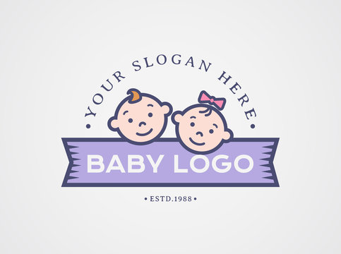 Baby logo. Vector symbol with children faces.
