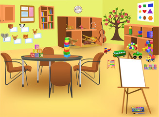 kindergarten room with furniture, toys, instruments,  board and other educational stuff