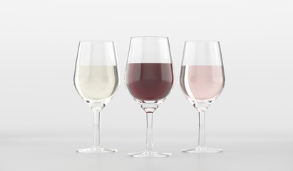 Glasses With Different Type Of Wine On White Background