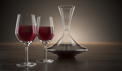 Decanter And Two Glasses Of Wine On Wooden Surface
