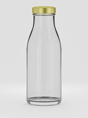 Empty bottle for juice or water with aluminium cap - 3d illustration