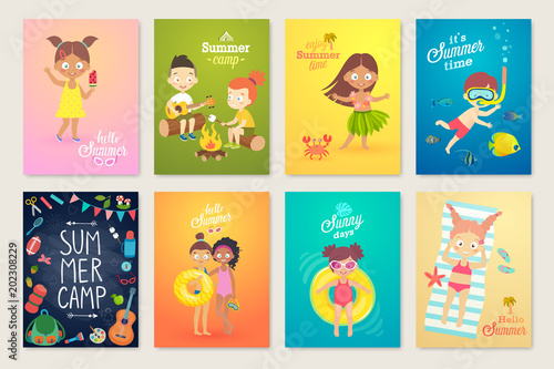 Wall mural Summer Kids card set, swimming, playing on the beach, camping and having fun.