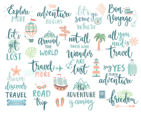 Travel Lettering Design Set - collection of handwritings, trip, journey and adventure themes