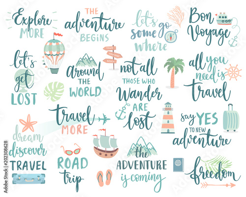 Wall mural Travel Lettering Design Set - collection of handwritings, trip, journey and adventure themes