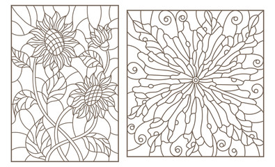 Set of contour stained glass illustrations with flowers, sunflowers and abstract flower, dark outlines on white background