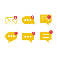 Simple flat minimalist incoming new chatbox messages app vector icon with notification.