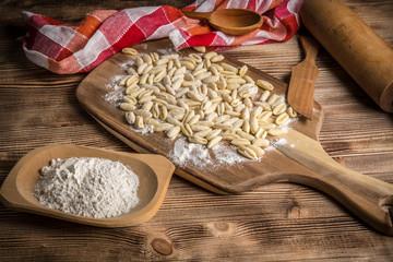 Fresh uncooked cavatelli pasta.