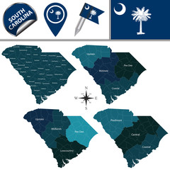 Map of South Carolina with Regions