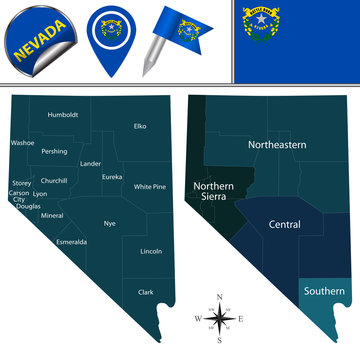 Map of Nevada with Regions