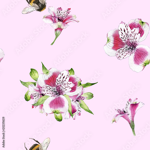 hand drawn watercolor seamless pattern of flowers of Alstroemeria