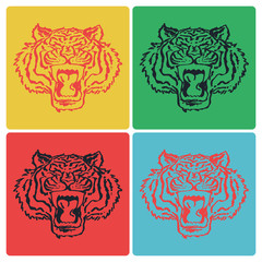 Colorful vector set of tiger head on different background colors, isolated print design