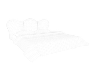 3d rendering of a lined bed on a white background