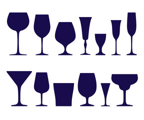 fc97fd069f7 Set of empty different shapes wineglass and glass icons isolated on ...