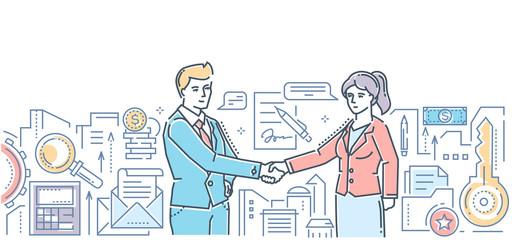 Business partnership - modern flat design style colorful illustration