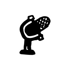 Handdrawn doodle microphone icon. Hand drawn black sketch. Sign symbol. Decoration element. White background. Isolated. Flat design. Vector illustration
