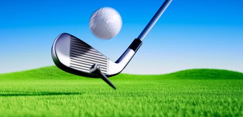 Golfball beim Abschlag