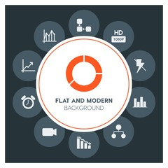 charts, video, photos, time Infographic Circle fill Icons Set. Contains such Icons as  business,  website,  elements,  background,  pattern,  banner,  slider,  and more. Fully Editable. Pixel Perfect